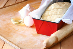 Homemade bread dough ready to rise Stock Image