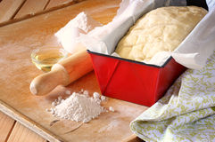Homemade bread dough ready to rise Stock Photography