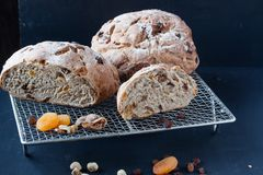 Homemade bread with dried fruis and nuts Royalty Free Stock Photo