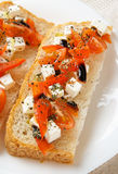 Homemade bread with feta cheese in plate Stock Image