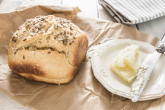 Homemade bread. Healthy breakfast with homemade bread Stock Photography