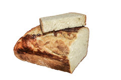 Homemade bread home. Piece of white bread of rustic stove Stock Photography