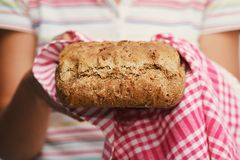 Homemade bread made with whole-wheat flour royalty free stock image