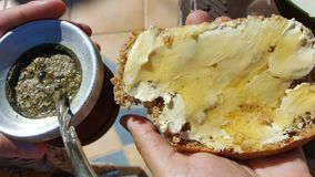 Homemade bread. And mate originally from Argentina Stock Image