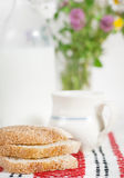 Homemade bread and milk in ceramic mug Royalty Free Stock Image