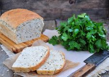 Homemade bread with oat flakes, linseed and black sesame seeds Royalty Free Stock Photos