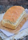 Homemade bread with oat flakes, linseed and black sesame seeds Stock Images