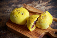 Homemade bread pumpkin bun with red bean royalty free stock photo