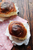 Homemade Bread Rolls. On rustic background Stock Photography