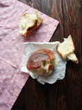Homemade Bread Rolls. On rustic background Royalty Free Stock Photo