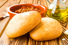 Homemade bread rolls. Ahead the meal Stock Images