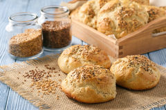Homemade bread rolls with flax seeds. Royalty Free Stock Photo
