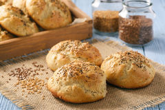 Homemade bread rolls with flax seeds. Homemade bread rolls with flax seeds Stock Photo