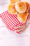 Homemade bread rolls. Fresh homemade bread rolls with sesam seed on table Royalty Free Stock Photography