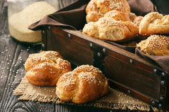 Homemade bread rolls with sesame seeds. Royalty Free Stock Photo