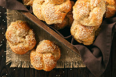 Homemade bread rolls with sesame seeds. Homemade bread rolls with sesame seeds Royalty Free Stock Photo