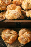 Homemade bread rolls with sesame seeds. Homemade bread rolls with sesame seeds Royalty Free Stock Photos