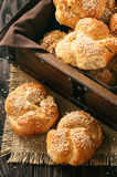 Homemade bread rolls with sesame seeds. Homemade bread rolls with sesame seeds Royalty Free Stock Image
