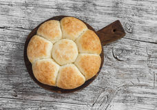 Homemade bread rolls on  wooden board Stock Images