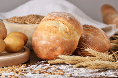 Homemade bread scene Royalty Free Stock Photo