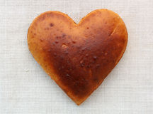 Homemade bread in the shape of heart Royalty Free Stock Images