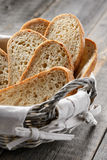 Homemade bread slices in a breadbasket Royalty Free Stock Images