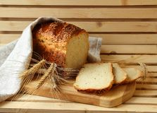 Homemade bread and stalks Royalty Free Stock Photography