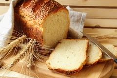 Homemade bread and stalks Stock Photos