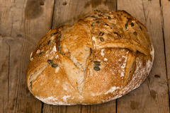 Homemade bread with sunflower seeds. Freshly baked. Stock Photo