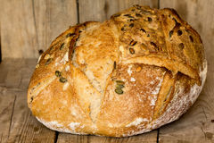 Homemade bread with sunflower seeds. Freshly baked. Royalty Free Stock Images