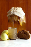 Homemade bread wavers with apples is not an unsurpassed drink Royalty Free Stock Images