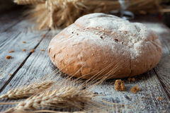 Homemade bread and wheat ears Stock Photo