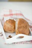 Homemade bread on white table Stock Photos