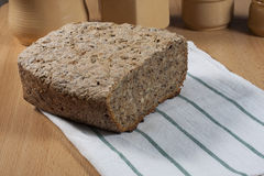 Homemade bread. Homemade bread on wood table Royalty Free Stock Photo