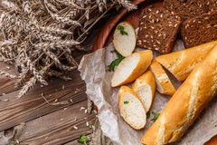 Homemade bread in wooden plate Stock Photo