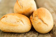 Homemade bread on wooden table close up Royalty Free Stock Photos