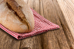 Homemade bread on wooden table Royalty Free Stock Photos