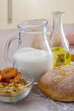 Homemade bread and yoghurt Stock Photography