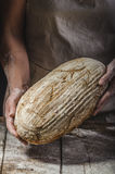 Homemade bread from young woman chef Royalty Free Stock Photo
