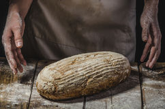 Homemade bread from young woman chef Stock Photo
