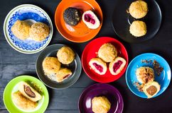 Homemade breadcrumb dumplings on colorful plates. Top view Royalty Free Stock Photography