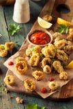 Homemade Breaded Fried Calamari stock images