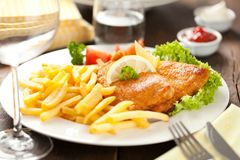 Homemade Breaded German Weiner Schnitzel with Potatoes. royalty free stock images