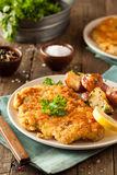 Homemade Breaded German Weiner Schnitzel Stock Photography