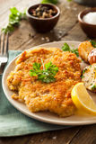 Homemade Breaded German Weiner Schnitzel Royalty Free Stock Image
