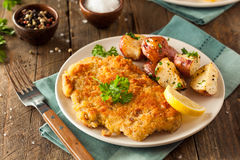 Homemade Breaded German Weiner Schnitzel Stock Images