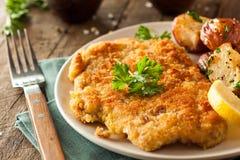 Homemade Breaded German Weiner Schnitzel. With Potatoes Stock Images