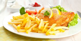 Homemade Breaded German Weiner Schnitzel with Potatoes. stock photos