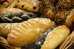 Homemade breads in a basket Stock Photography