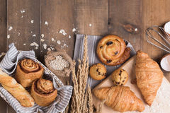 Homemade breads or bun on wood background Royalty Free Stock Image